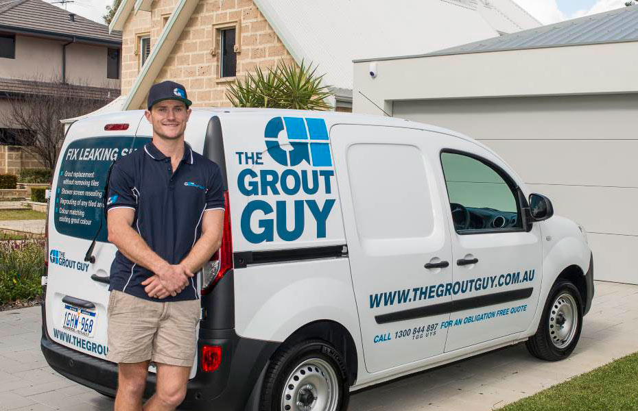 The-Grout-Guy-Tradesman-Outside-home-with-van